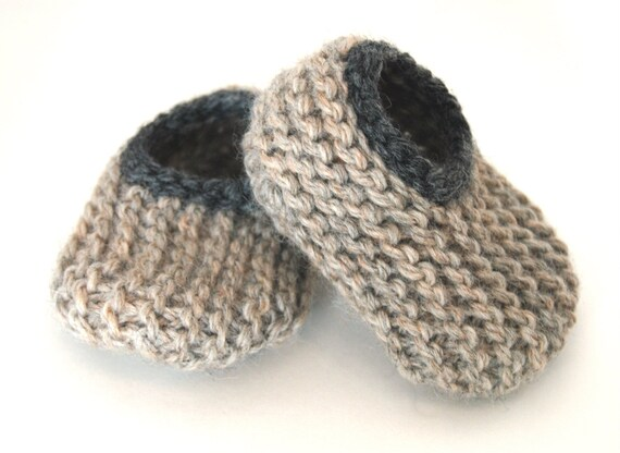 Wool Baby Slippers - Oatmeal and Charcoal, Wool Baby Slippers, Crib Shoes, Booties