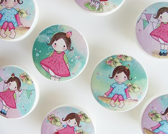 Pretty Girl Art Knobs, Little Girl Drawings in Pinks and Blues, Wood Drawer Knobs- 1 1/2 Inches - Made-to-Order