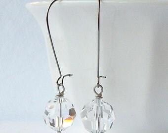 ON SALE Clear Crystal Dangle Earrings, Crystal Clear Earrings