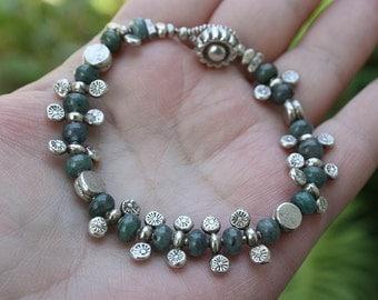 Kyanite Bracelet, Silver Tribal Bracelet, Ethnic Silver Bracelet, Boho Bracelet, OOAK Bracelet, Statement Bracelet, Tribal Jewelry, Boho