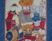 """Daisy Kingdom Baby Quilt Fabric Panel or Wall Hanging Teddy Bear & Toys 45"""" wd by the panel"""