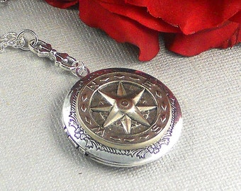 Silver Compass Locket, Butterfly Steampunk Large Antique Silver Finished , Botanical Floral Locket  JOURNEY 2