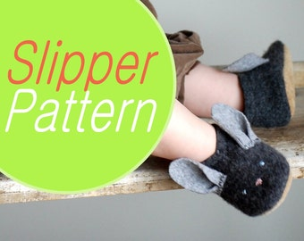 Bunny Slippers Sewing Pattern, Baby sizes, Instant Download Tutorial PDF by Wooly Baby, Baby sizes 0-12, 6-18, 12-24 months