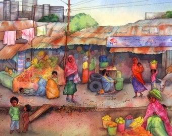 NEW Ethiopian Market 11x14 African Market art print