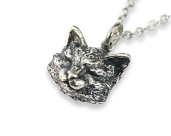 Silver Kitty Cat Necklace in Solid White Bronze with Sterling Overlay 360
