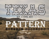 "DIY State String Art Pattern - Texas - 10"" x 10.5"" - Hearts & Stars included"