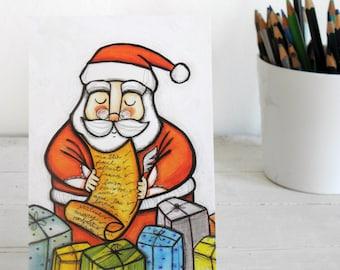 Santa Claus postcard illustration