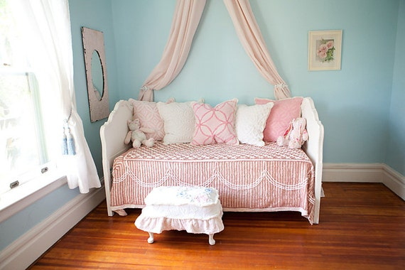 Bedding Daybed Pillows Vintage Chenille Bedspread Down Pink