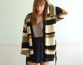 70s Striped Earth Tone Wrap Tie Front Sweater Cardigan - Vintage - MEDIUM M