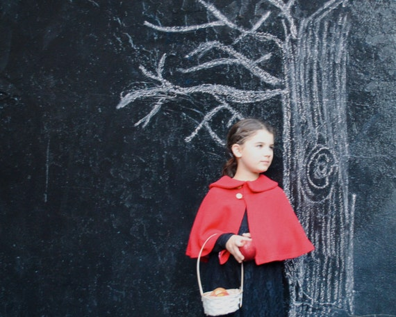 Red Boiled Wool Cape - Girls Shrug Capelet with Peter Pan Collar - Little Red Riding Hood - One size fits 1T 12 months to 3T Baby Toddler