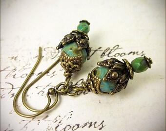 Moss Green Earrings, Woodland Bridesmaid Earrings, Woodland Wedding, Rustic Wedding, Medieval, Victorian Earrings, Woodland Bride, Rhiannon