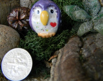 Barn owl pendant  Hand sculpt ceramic  Pendant , charm or Christmas ornament glazed Purple pottery hoots