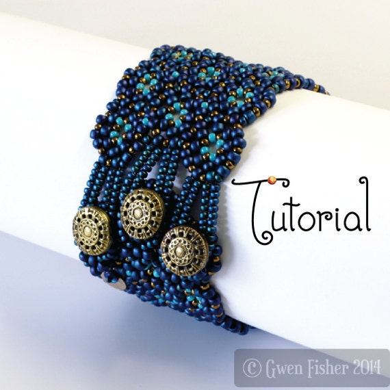 TUTORIAL Lozenge Bracelet Beaded Angle Weave with Button & Loop Closure