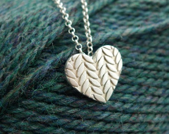 Large Knitted Heart Necklace in Sterling Silver