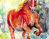 ORIGINAL Horse watercolor painting running red horse painting 6x8