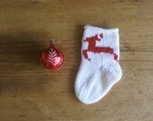 Miniature White Wool Christmas Stocking, Knitted Christmas Ornament