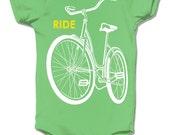 Baby Bodysuit, Bike Onesie, Ride a Bike, Baby boy Gift, Unisex Baby Clothes, Baby Shower gift, Green Baby Clothes, Bike Clothing, Baby Shirt