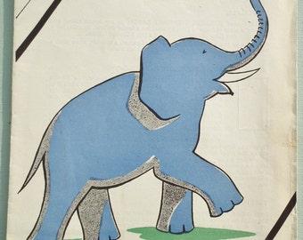 Vintage Embroidery Transfer Elephant 1940s Nursery Transfer 40s Wm Briggs UK children's transfer design