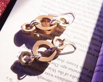 Brass HexNut Earrings