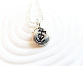 Camargue Cross Necklace - Hand Stamped, Personalized Faith, Hope, Love Cross Jewelry - French Cross - Anchor Cross