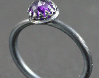 Rose Cut Amethyst Ring - 6mm Sterling Gemstone Ring - Choose Your Stone and Band