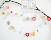 diy PDF Emilia Flower Garland, crochet pattern - immediate download