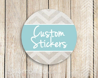 CUSTOM Thank You Stickers for Etsy Packaging - 2 inch round (40 stickers) - Logo, Chevron, Hearts, Camera