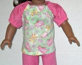 American Girl Doll Clothes Light Green Butterfly and Capris with Shoes Handmade Doll Clothes Made in USA