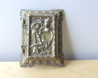 ornate brass desk note pad holder hinged memo cover renaissance man theater prop