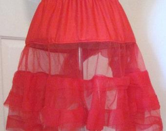 Vintage Slip - Red Crinoline - Sheer Ruffles Petticoat - Mini Crinoline - Ruffled Petticoat - Red