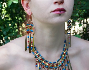 Cleopatra Necklace and Earrings Set: Turquoise, Coral, and Gold