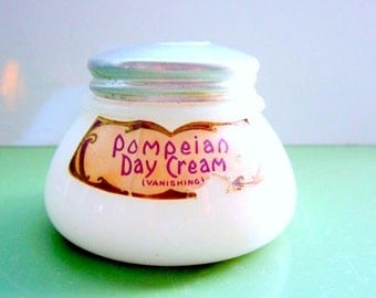 Vintage Cream Jar Milk Glass Early Pompeian Vanishing Cream Milk Glass Jar Paper labels 1920s