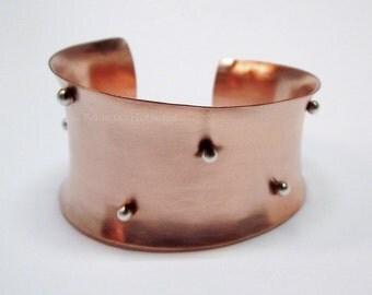 Copper Silver Artisan Jewelry, Women's Mixed Metal Jewelry, Statement Cuff Bracelet, Unusual Copper Bracelet, Women's Gift, Gift for Wife