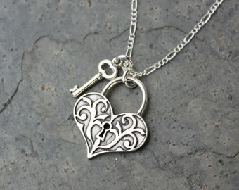 Deluxe Key to My Heart sterling silver necklace - Victorian style scroll work heart lock & key charms, figaro chain - anniversary, valentine
