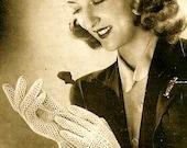 INSTANT DOWNLOAD-Vintage crochet pattern for 1940s elegant lace gloves -pdf email delivery