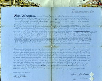 1858 Magnificent Antique Shabby Chic Decor. Original Handwritten Manuscript on Wood Panel / Ready to Hang