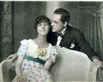 1930s Romantic Postcard. That Tickles
