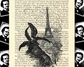 Vintage Edgar Allan Poe old Book Print Page Raven Crow Eiffel Tower Halloween Crow French