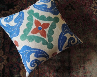 Trade Routes hand block printed linen colorful decorative pillow case moroccan moorish persian tile design home decor