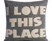I LOVE THIS PLACE - recycled felt applique pillow 16 in- more colors available
