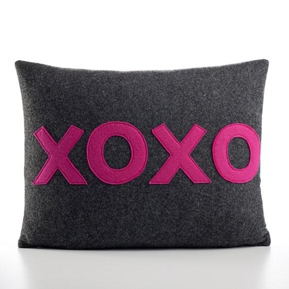 "Decorative Pillow, Throw Pillow, ""XOXO"" pillow 10X14 inch"