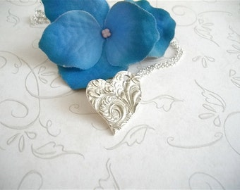 Asymmetrical Heart Necklace in Fine Silver Art Clay Silver Pendant