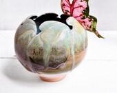 Ceramic art container planter or vase Seconds leaf motif pattern