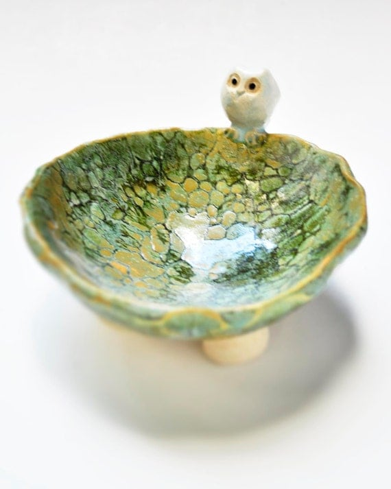 Ceramic owl jewelry dishl SECONDS sale handmade Owl on Green glazed bowl