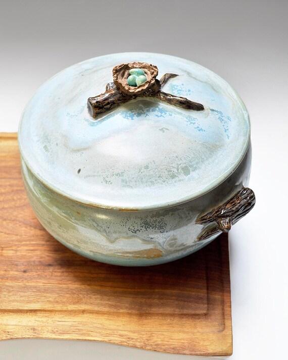 ceramic Casserole SECONDS SALE handmade lidded serving pot birds nest casserole 2qt
