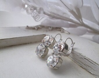 Swarovski Diamond Dangle Crystal Earrings - Silver