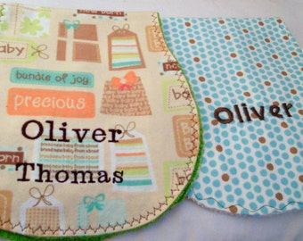 Custom Baby Burp Cloth Set - you choose fabric and phrases