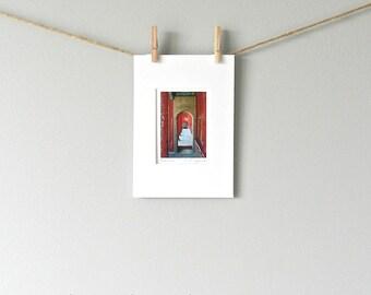 Red Door Photography, Miniature Art, Asian Decor, Asian Art, Red Wall Decor, Scarlet Door Art Print, Chinese Doorway Art Matted 5x7, ACEO