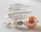 Peach Bridesmaid Jewelry Pearl Necklace Beaded Pendant Peach Wedding Jewelry Sets Peach and Silver Bridal Party Necklaces Beaded Jewelry
