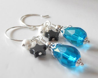 Bridesmaid Jewelry Blue Crystal Drop Earrings Bead Cluster Star Dangles Malibu Wedding Jewelry Blue White Gray Silver Bridesmaid Earrings